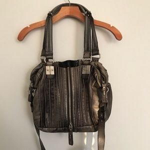 TULAH RAY Distressed Gray Split Zip Satchel Bag!